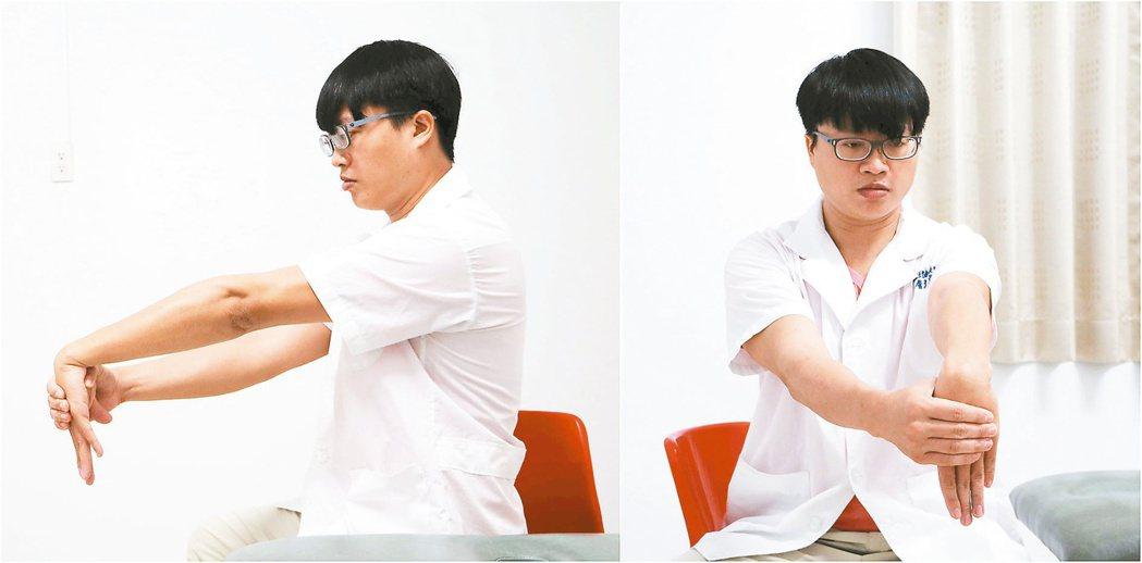 牽拉的動作牽拉的動作:患側手打直,另一手握住患側手,往掌側牽拉,停3秒放鬆。...