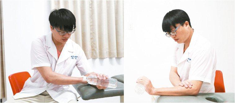 肌力訓練肌力訓練:將手置於桌面上,握住裝水寶特瓶,手腕上抬,然後放鬆。一天2...