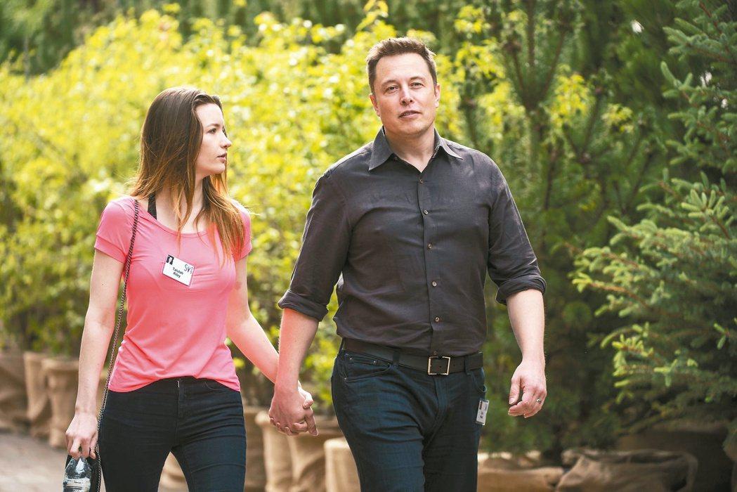 穆斯克(Elon Musk)與前妻萊莉(Talulah Riley) 路透