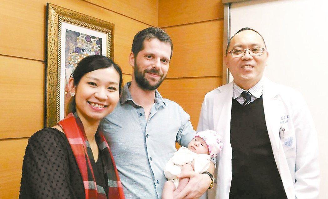 34歲楊姓女子(左)2年前因子宮肌瘤導致經血量過多,童綜合醫院婦癌科醫師劉錦成(...