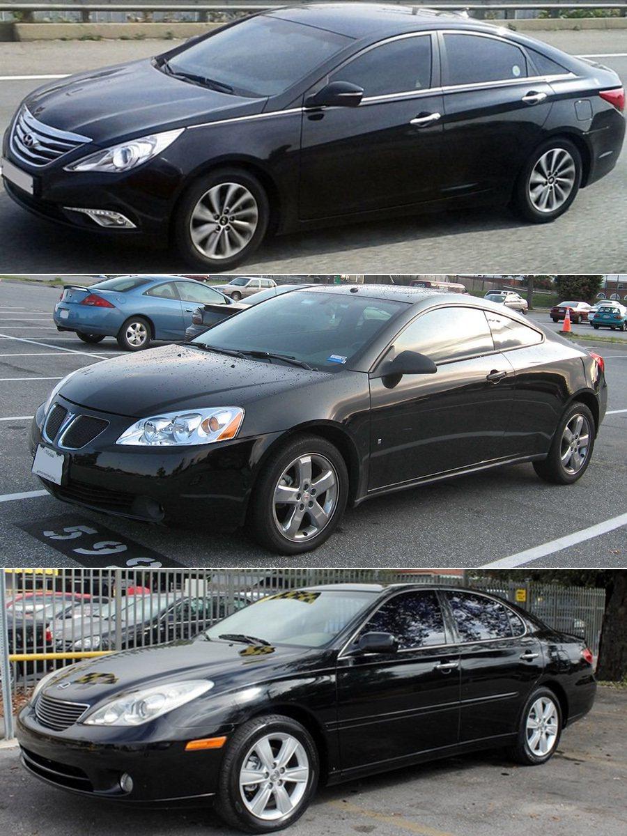 Lexus ES330、Hyundai Sonata、以及 Pontiac G6轎車。 摘自wikimedia.org200