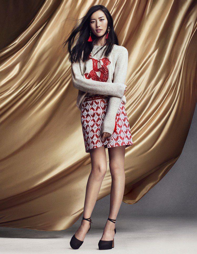 石榴夫婦共同演繹H&M 2016年新春系列 劉雯。圖/H&M提供