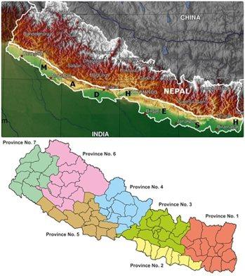 上圖:承接印度-尼泊爾邊境的馬德西平原;下圖:2015年尼泊爾新憲制訂後,全國被...