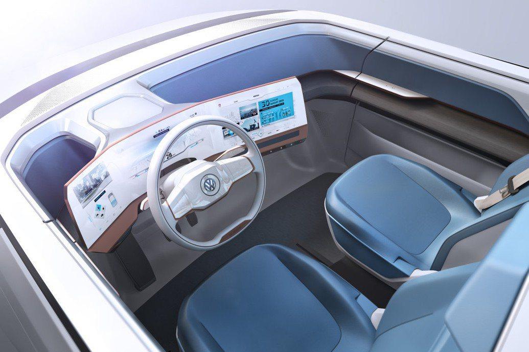 內裝部分充滿許多未來車的概念氛圍,並以全觸控式螢幕鋪陳,打造薄型化中控台。 摘自Volkswagen.com