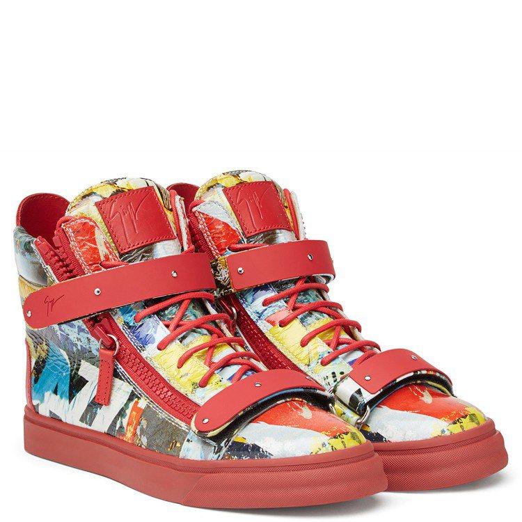 動漫圖騰紅色皮革球鞋,售價40,800元。圖/Giuseppe Zanotti ...