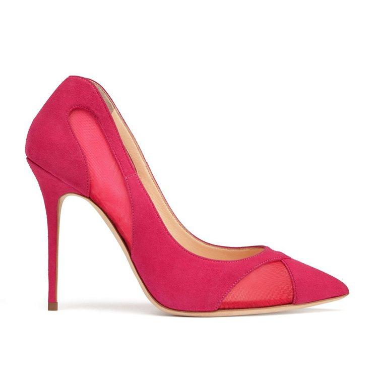 桃紅麂皮透膚高跟鞋,售價29,800元。圖/Giuseppe Zanotti D...