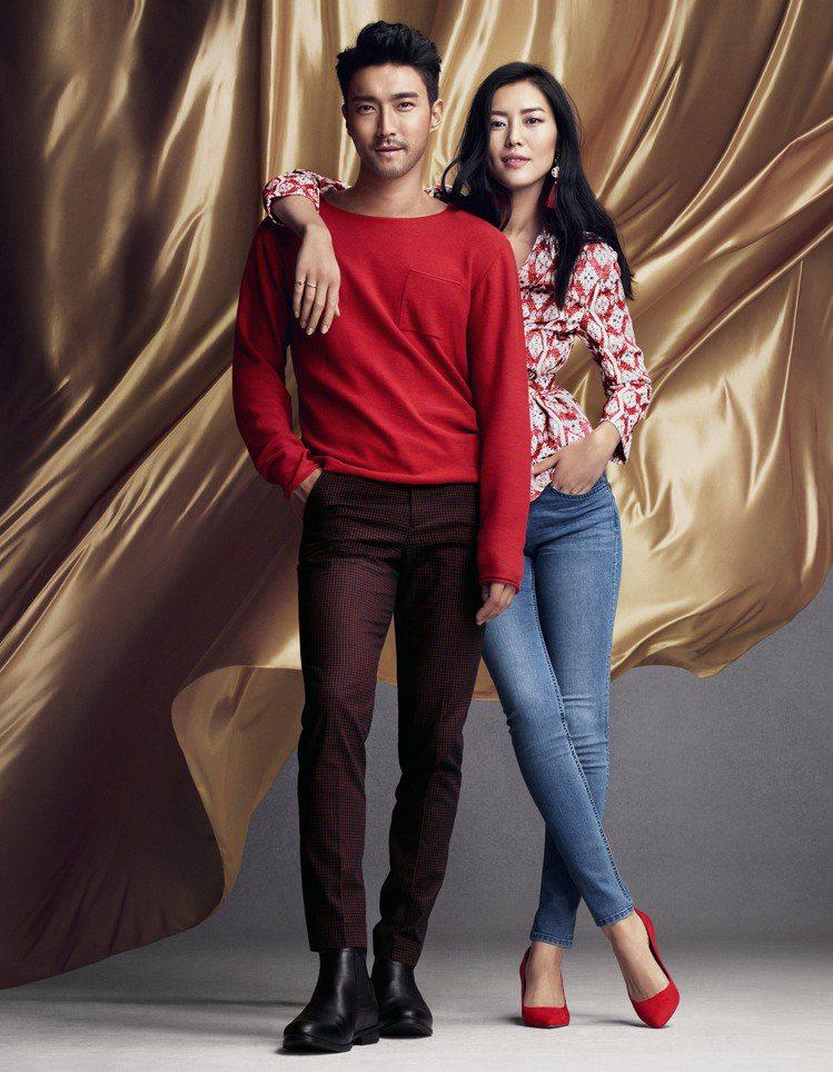 H&M邀「石榴夫婦」崔始源和劉雯詮釋喜氣洋洋的中國年。圖/H&M 提供