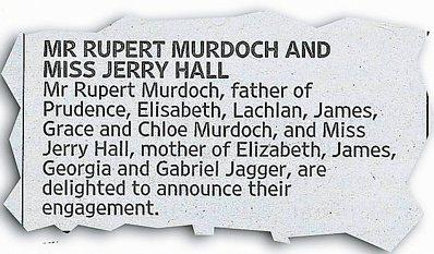 梅鐸在英國泰晤士報刊登結婚啟事。圖/摘自泰晤士報