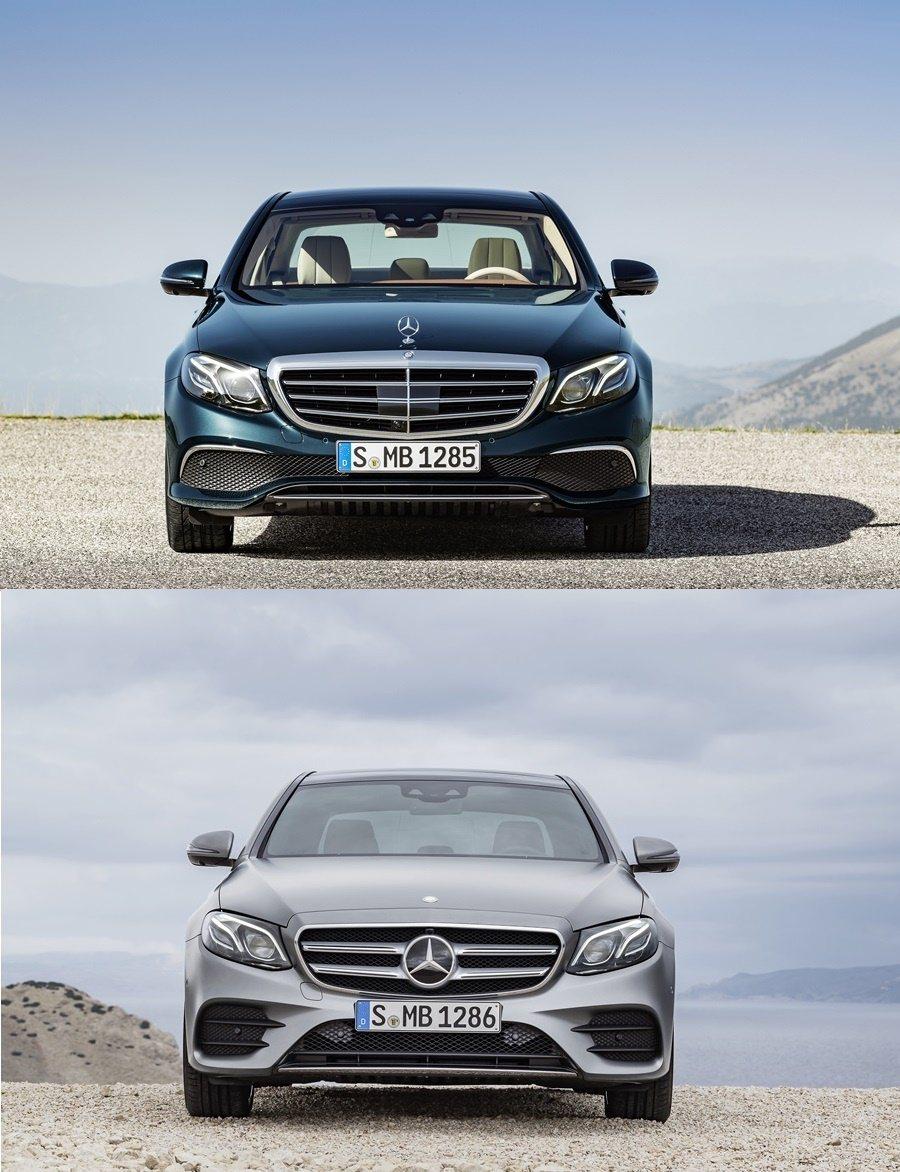 不同等級車型各有不同的車頭設計,上為基本車型EXCLUSIVE車頭配有經典的賓士三芒星車徽,下圖為Avargarde和AMG系列車型,有更大型的三芒星並配上刀刃式雙橫柵,氣壩進氣口也加了雙橫柵。 圖/Mercedes Benz提供