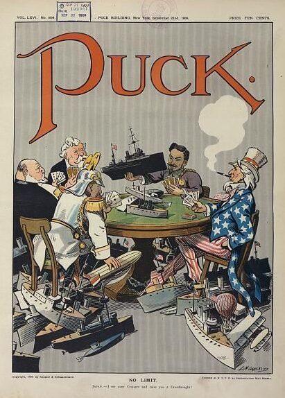 1909年美國雜誌《Puck》以卡通描繪二十世紀初歐陸各國的海軍競賽。 圖/維基...