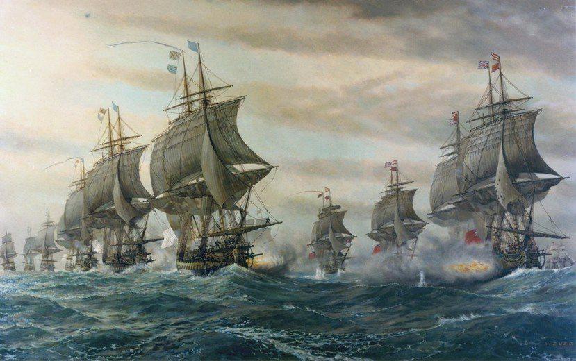 圖為美國獨立戰爭中一場關鍵性的海戰——《維吉尼亞角戰役》;左為法國軍艦,右為英國...