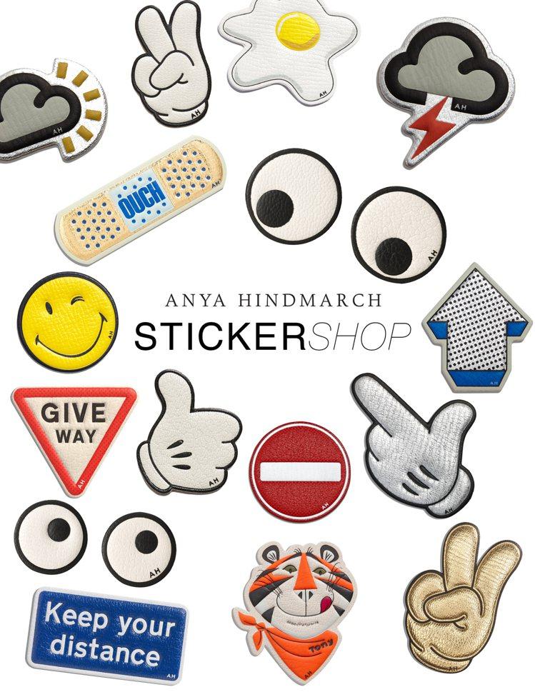 Anya Hindmarch皮革貼紙,售價2,580元至6,580元。圖/CLU...