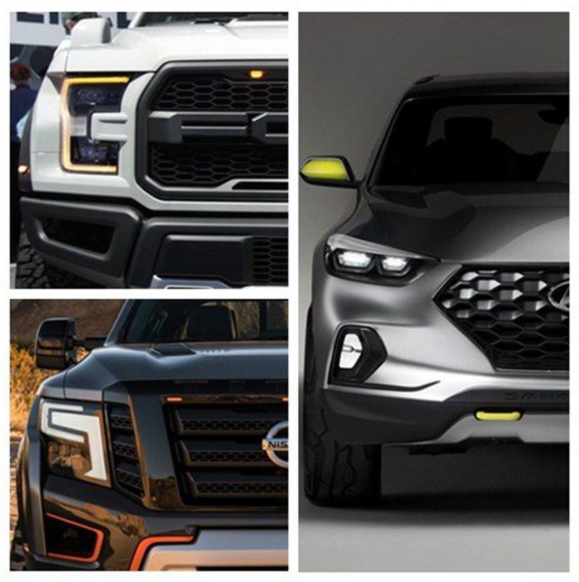我們精選的三部車款為Ford F-150 SuperCrew、Nissan Titan Warrior概念車,以及Hyundai Santa Cruz概念車進行報導。 自製圖片
