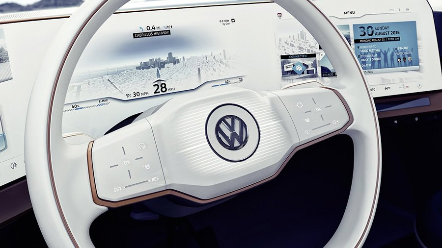 方向盤以觸控方式取代傳統控制鍵。 Volkswagen提供