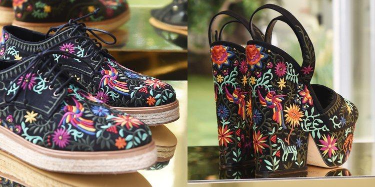 CANCUN繡花跟鞋。圖/sergio rossi春夏系列