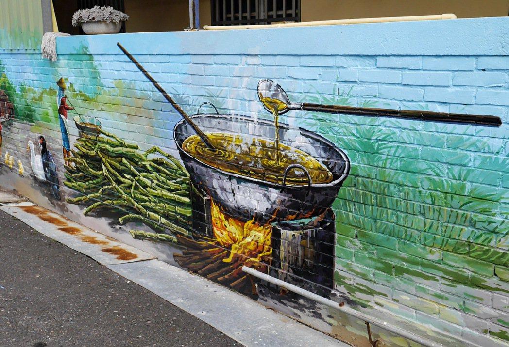 工廠村社區內的糖業故事壁畫。 記者陳威任/攝影