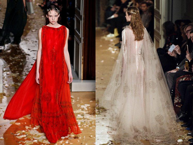 反映在Valentino高訂作品更顯修長線條與飄逸氣質,陳舊效果的絲絨、細緻考究...