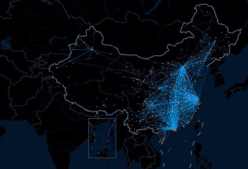 鄉愁的實際行動:從中國百度網站整理的遷徙路徑,可看出每年春運時分,中國大量返鄉人...