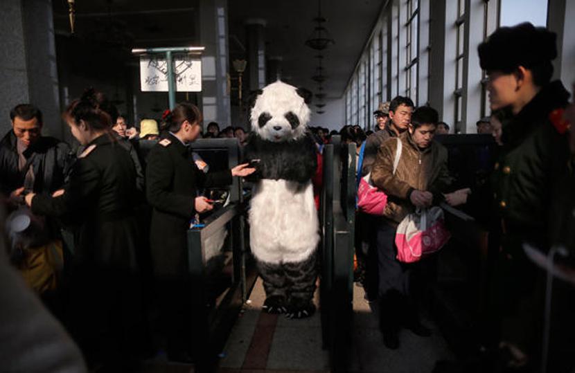 春運乃為中國過節一大特色,不想每年因人擠人稿的灰頭土臉,有中國民眾乾脆穿起熊貓裝...