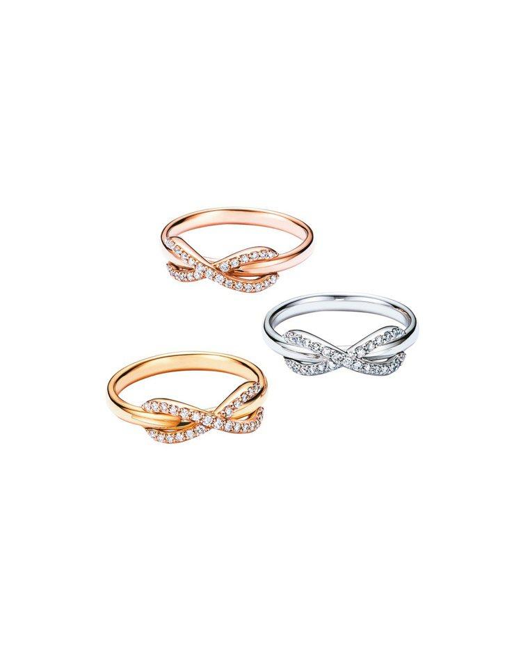 Tiffany Infinity 18K玫瑰金、18K白金、 18K金鑲鑽戒指各...