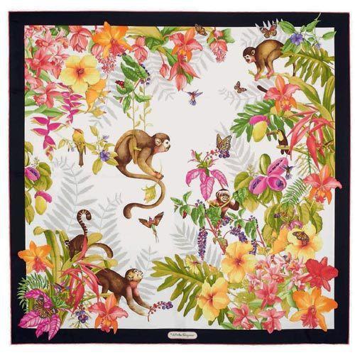 Ferragamo限定款猴年印花絲巾,13,900元。圖╱Ferragamo提供