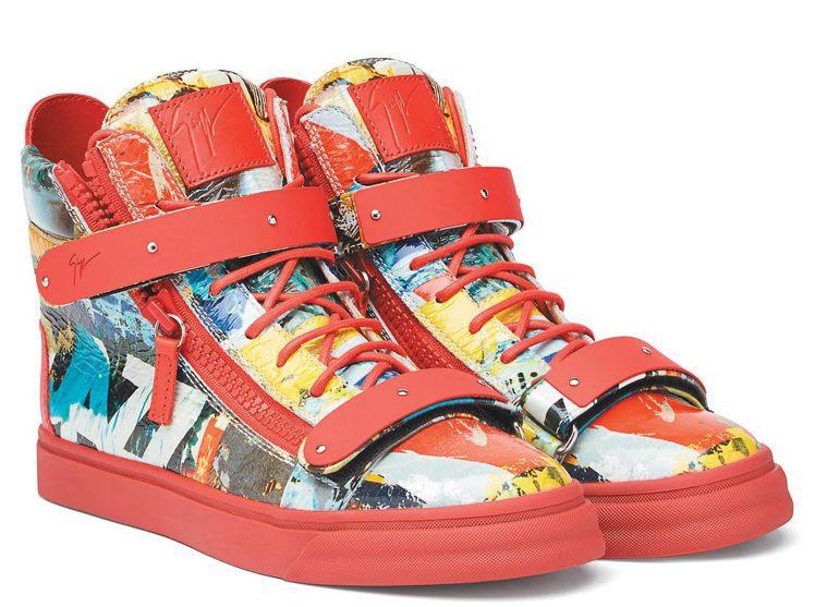 動漫圖騰紅色皮革男士球鞋,40,800元。圖/Giuseppe Zanotti ...