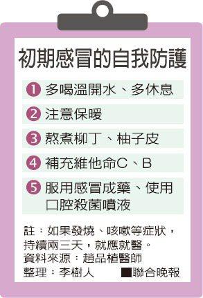 初期感冒的自我防護 整理:李樹人