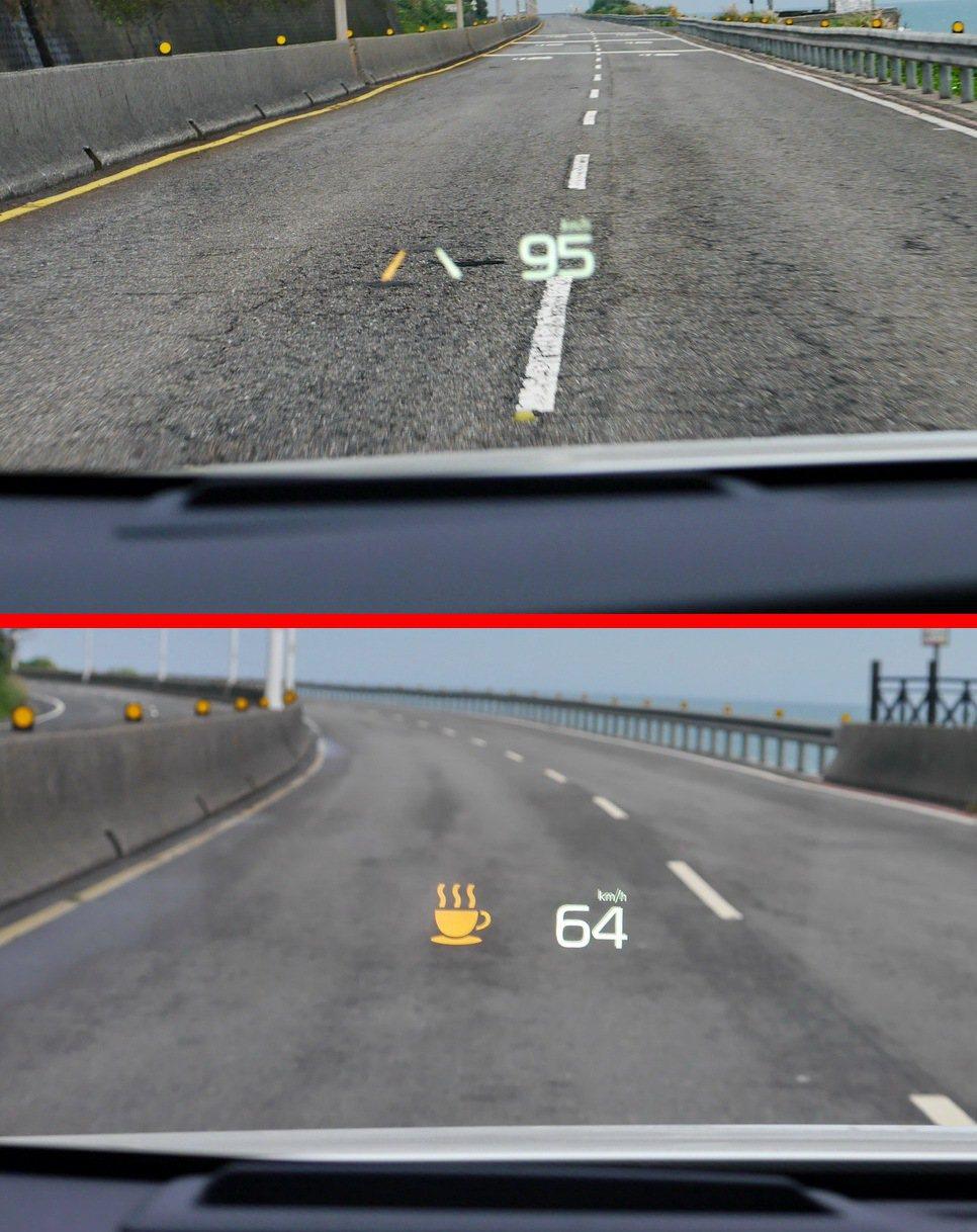 如果連續多次被判定偏離車道,系統除了會以聲響警告外,並會出現咖啡杯圖案,提醒駕駛...