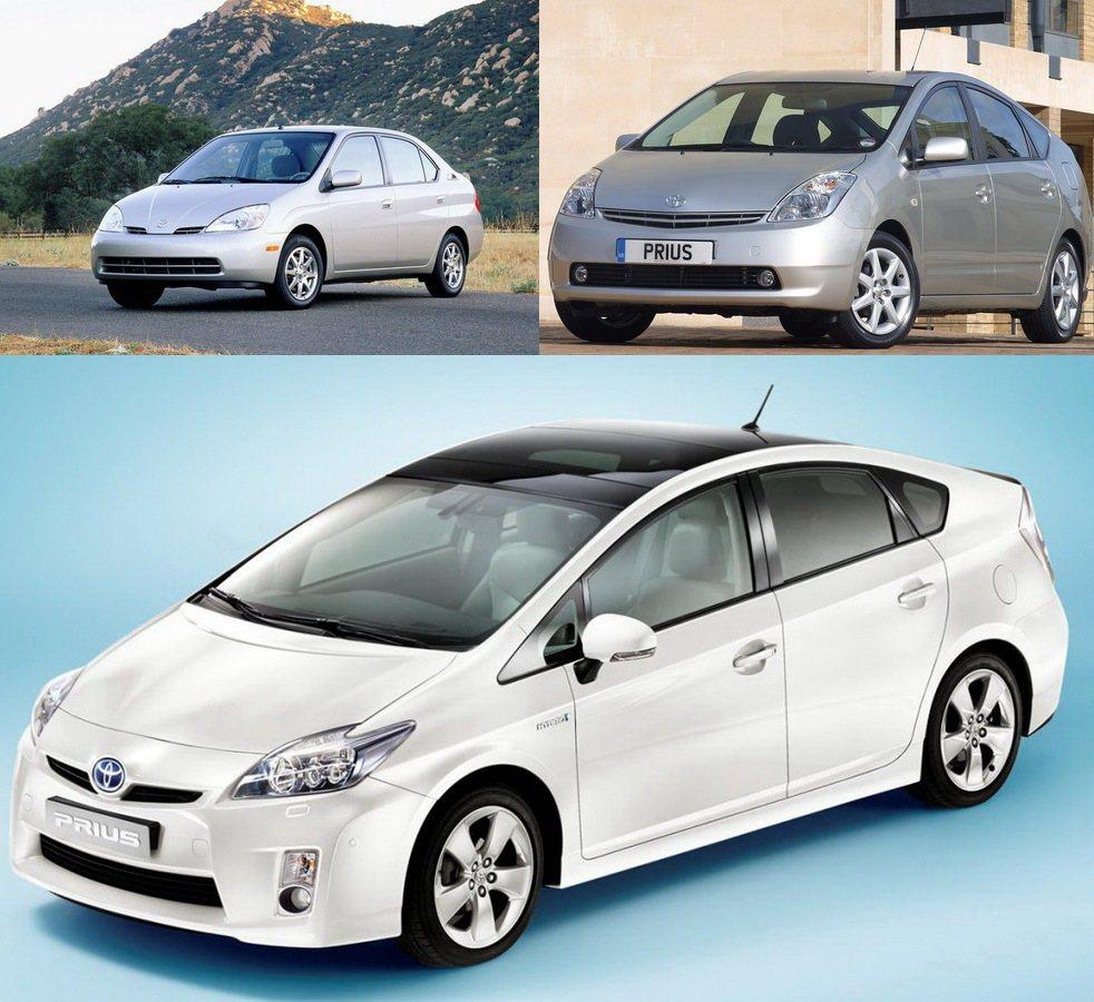 1997第一代Prius(左上)、2003第二代(右上)、2009第三代車型(下...