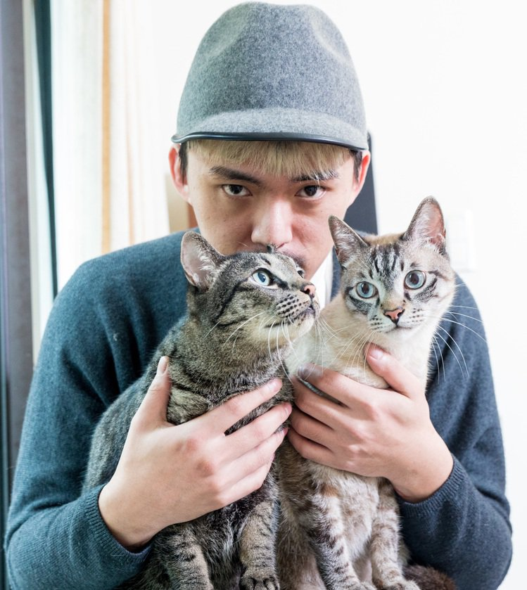 HUSH與他的寵物貓們。記者鄭清元/攝影