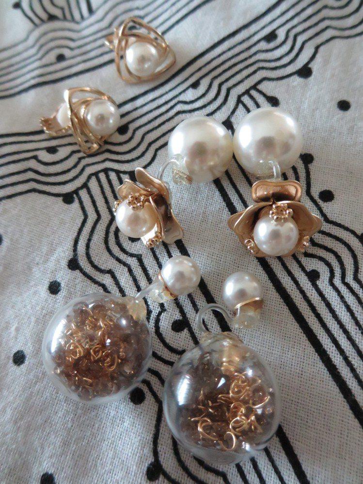 耳環比項鍊更能呈現優雅感,尤其金色搭配珍珠的款式,帶來喜氣。圖/觀玲提供