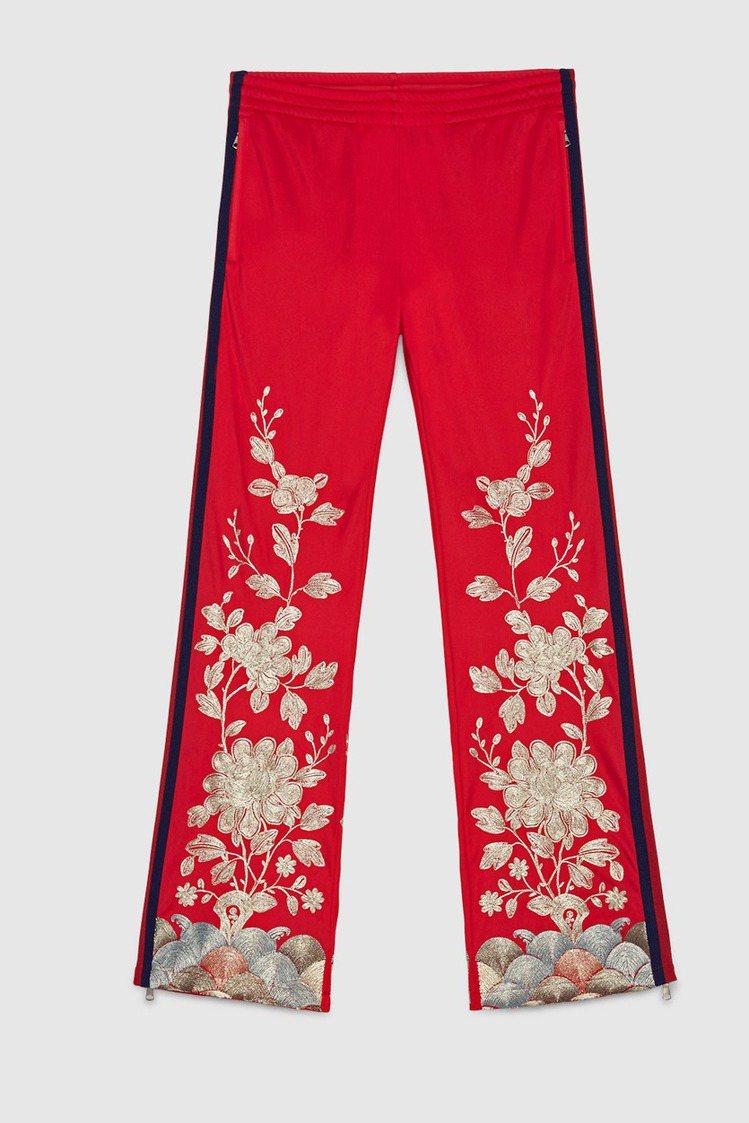 Gucci銀色紗線刺繡長褲,價格61,800元。圖/Gucci提供