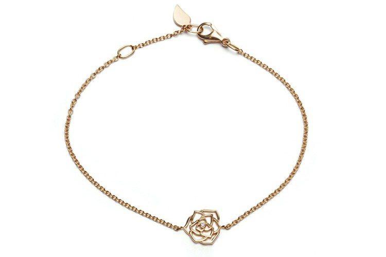Piaget Rose手鍊,18K玫瑰金,鑲嵌單顆圓形美鑽(約0.01克拉),台...