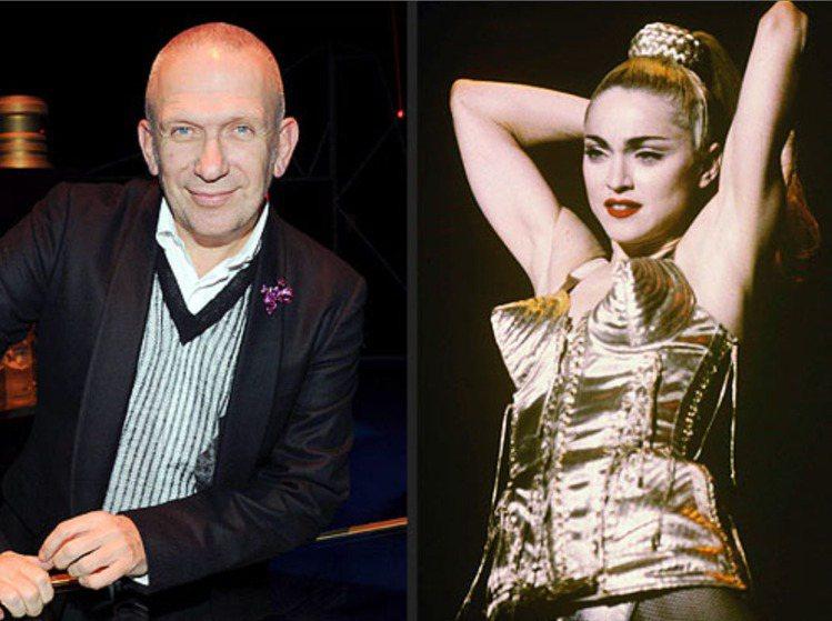 瑪丹娜穿著時尚大師高堤耶(左)為她設計的「尖錐胸罩」。圖/布碌崙美術館提供