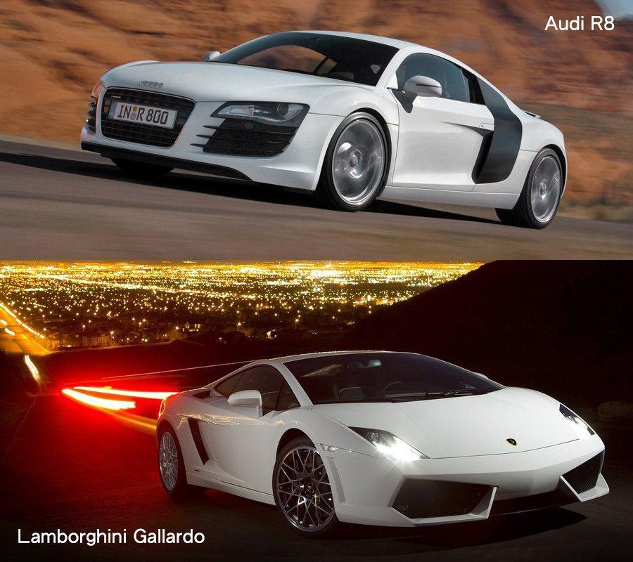第一代 Audi R8雖與 Lamborghini Gallardo。 Audi & Lamborghini提供