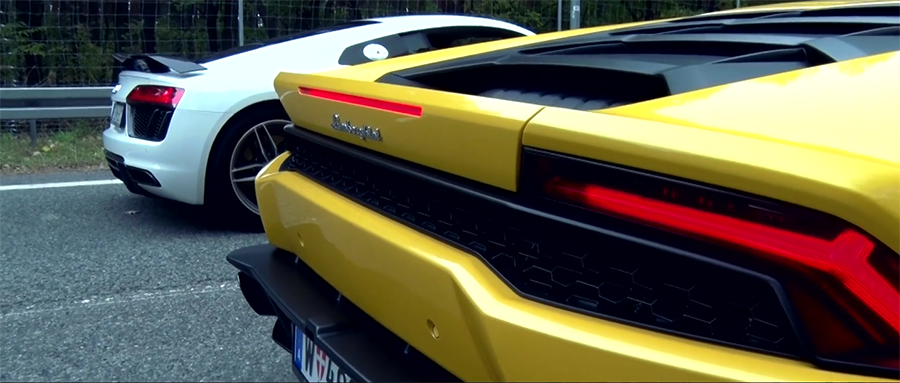 第二代 R8 V10 Plus現身之後,就連Lamborghini 小牛車主們也笑不出來了。 摘自TopGear Polska影片