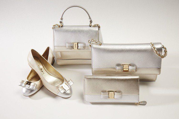 (由左至右) VARINA金銀蝴蝶結平底鞋21,900元、CARRIE金銀蝴蝶結...