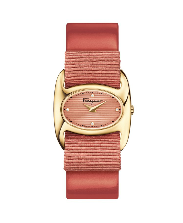 VARA粉色蝴蝶結造型腕表,45,000元。圖/Ferragamo提供