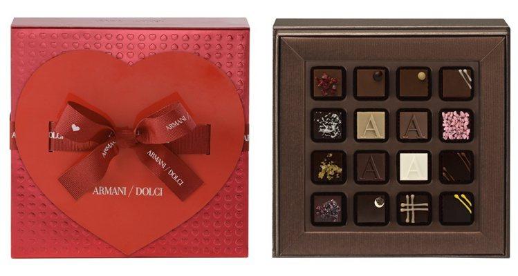 Armani/Dolci情人節限定禮盒,主推16顆巧克力限定包裝,呈現時尚的義式...