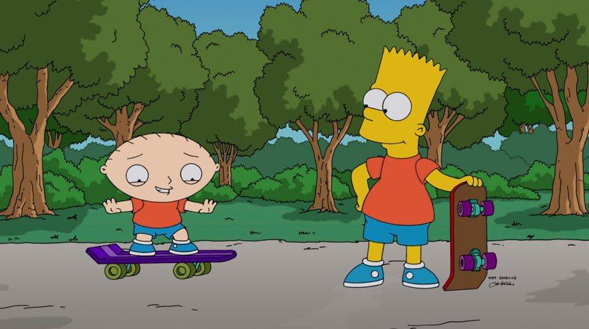 霸子在教《蓋酷家庭》的葛屁溜滑板,反正都住美國嘛! 圖/美聯社