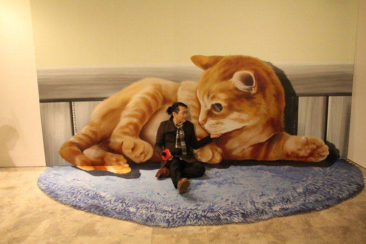3D追夢異想世界展,與大型貓咪合照好吸睛。圖╱新光三越提供