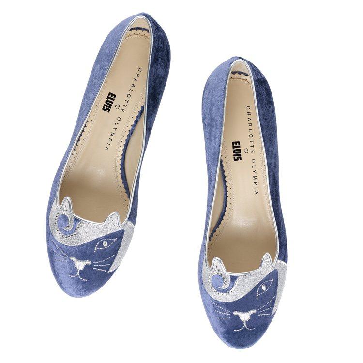 貓王貓咪平底鞋,售價21,800元。圖/CHARLOTTE OLYMPIA提供