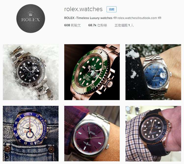 Rolex的官方Instagram與Facebook在數位內容有明顯區隔。圖/翻...