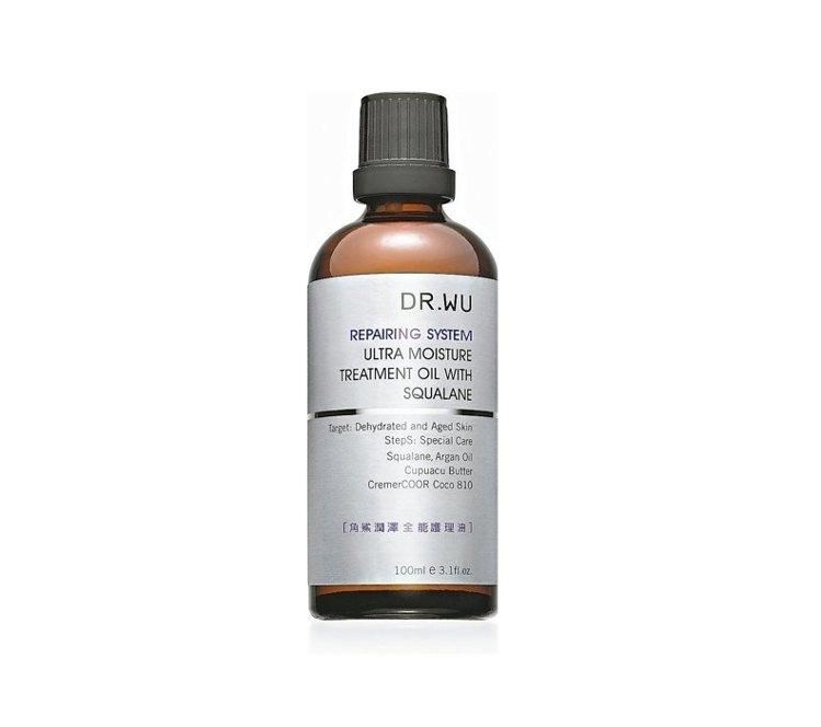 DR.WU角鯊潤澤全能護理油,調和摩洛哥堅果油等6種油,結合天竺葵、甜橙香氣,可...