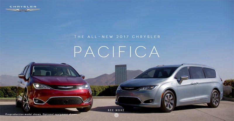 飛雅特克萊斯勒汽車公司推出新廂型車款Pacifica。圖擷自Chrysler