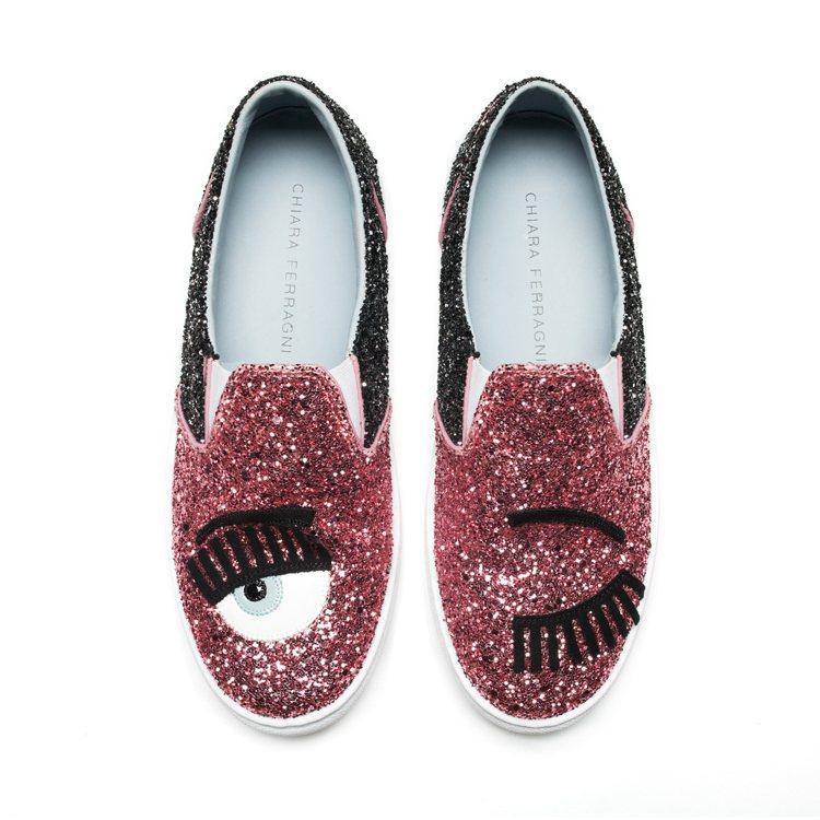 Flirting系列 紅色拼接黑色亮片厚底休閒鞋 $10,200。圖/Chiar...