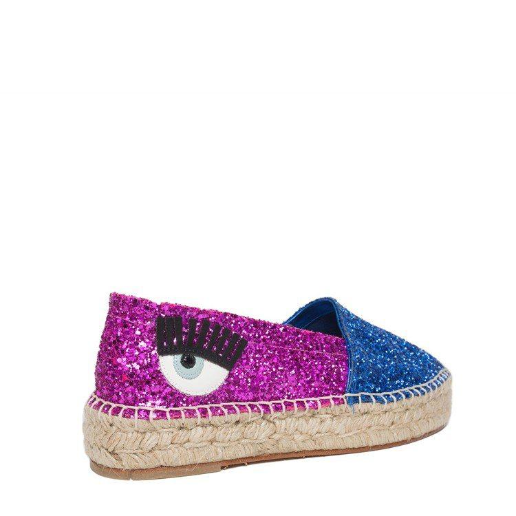 Natalie系列 藍粉雙色拼接亮片草編鞋 $11,800。圖/Chiara F...