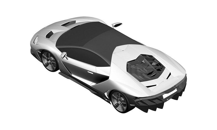疑似藍寶堅尼Centenario LP 770-4超跑設計圖。 摘自epo.org