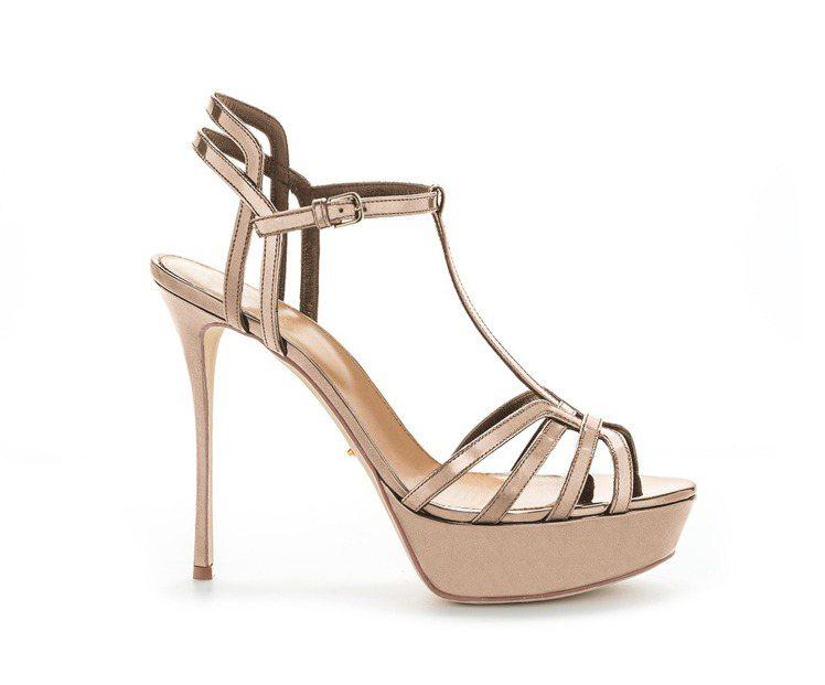 碧昂絲款INES鏡面玫瑰金繫帶高跟涼鞋。圖/sergio rossi提供