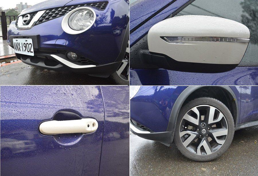 NISSAN Juke個性化特仕版用酷漩藍車色搭配白色外觀仕樣,包含燈框、前保桿下飾條、車外後視鏡、車門手把、車頭燈飾蓋與前保險桿飾條等部件。